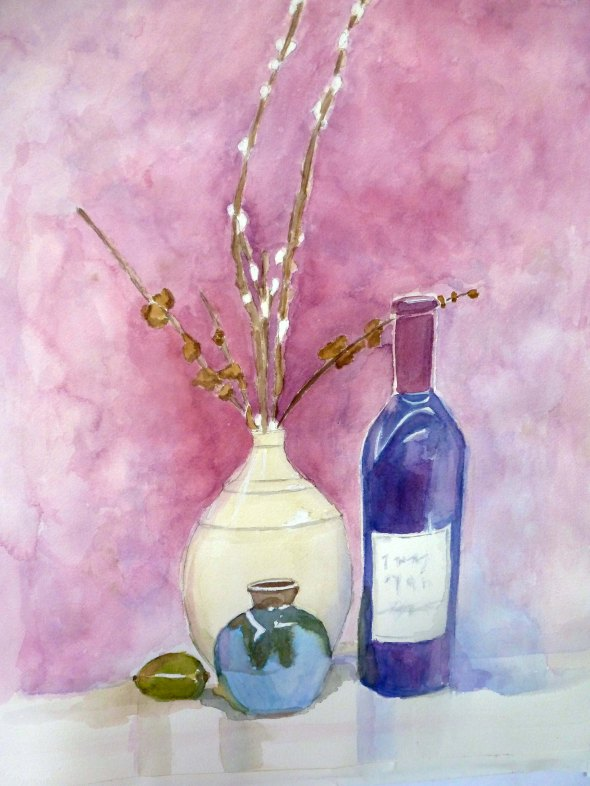 Still Life with Wine Bottle and Vases_3
